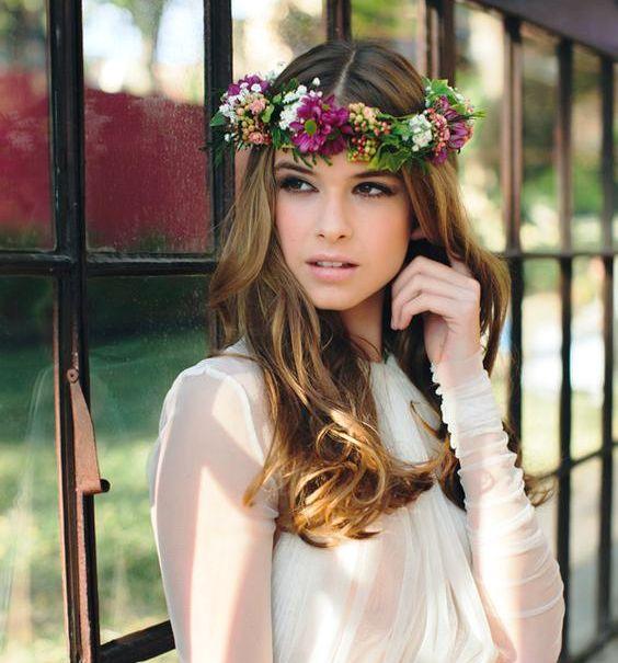 corona de flores de novia